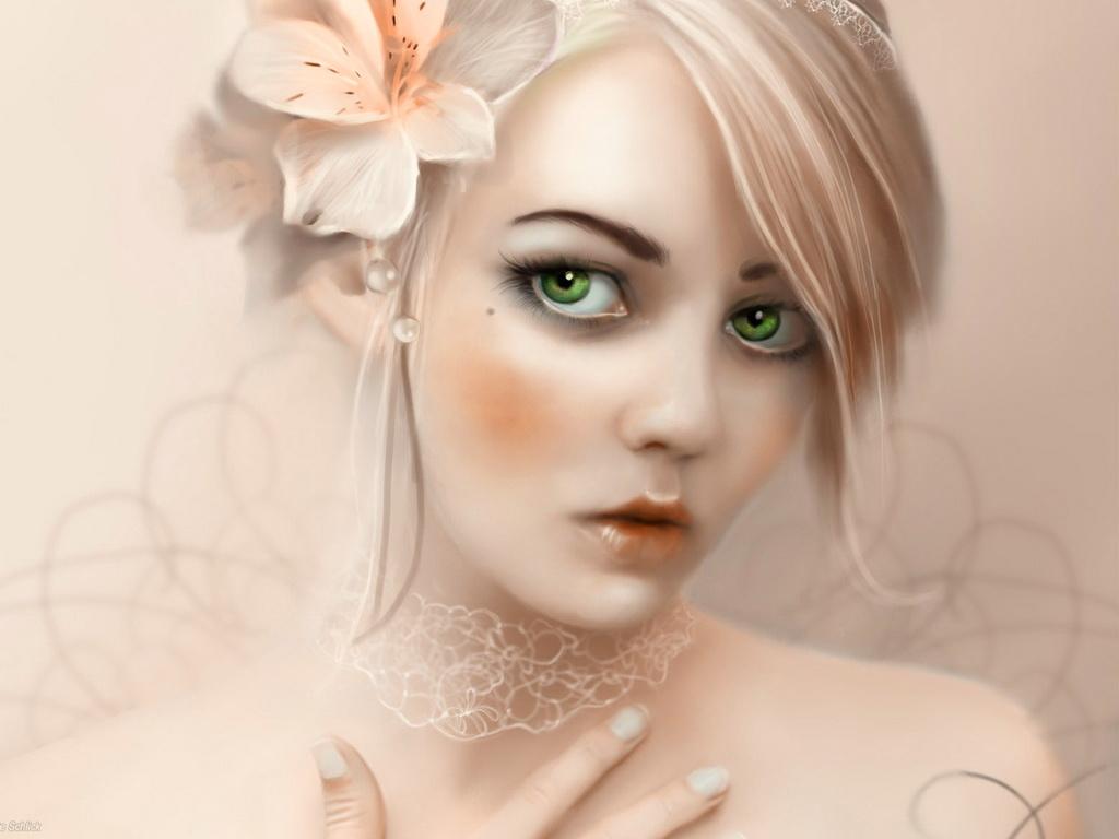 Зеленые глаза носить девушки цветка Обои 1600x1200 скачать обои.