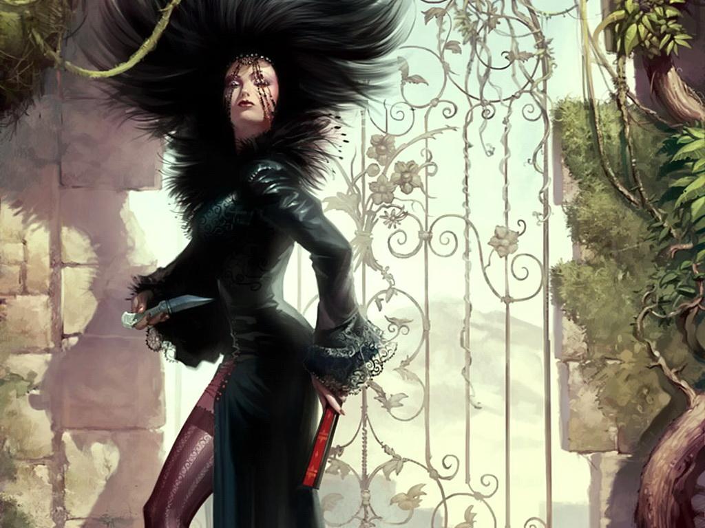 Ведьма с ножом.  Мрачные, злые, устрашающие девушки фэнтези.