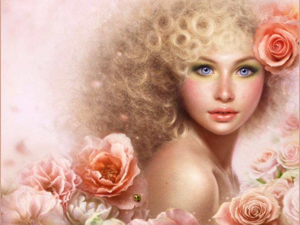 фото девушек с цветами роз: